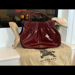 Deep Wine Leather Burberry Shoulder Bag w/Dust bag